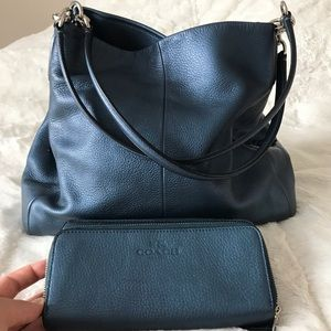 Coach Phoebe Dark Blue Leather Purse & Wallet